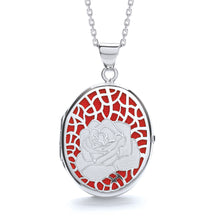 "J-Jaz Sterling Silver Rose on Red Oval Locket & 16"" to 18"" Chain - Queen of Silver"