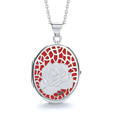 J-Jaz Sterling Silver Rose on Red Oval Locket & 16