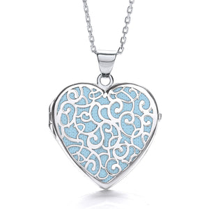 "J-Jaz Sterling Silver Filigree Blue Heart Locket & 16"" to 18"" Chain - Queen of Silver"