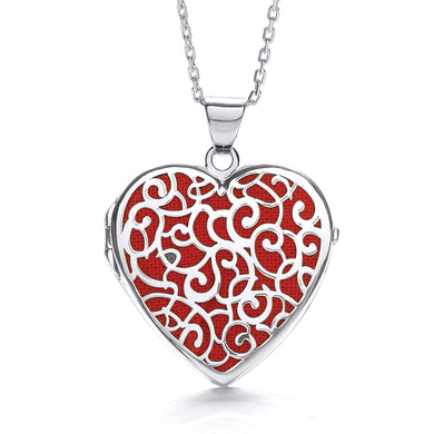 J-Jaz Sterling Silver Filigree Red Heart Locket & 16