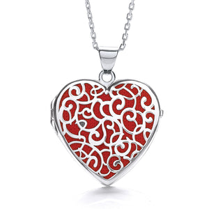 "J-Jaz Sterling Silver Filigree Red Heart Locket & 16"" to 18"" Chain - Queen of Silver"