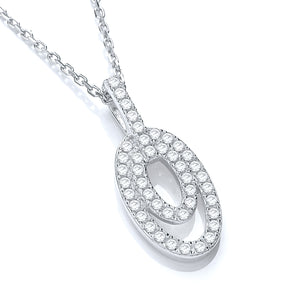 "J-Jaz Sterling Silver Double Oval CZ Pendant & 18"" Chain - Queen of Silver"