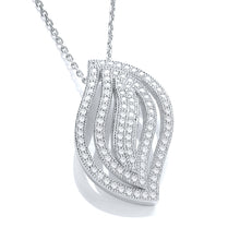 "J-Jaz Sterling Silver CZ Leaf Pendant & 18"" Chain - Queen of Silver"