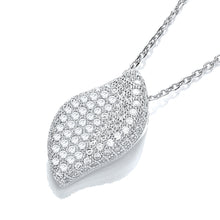 "J-Jaz Sterling Silver Curvy Leaf CZ Pendant & 18"" Chain - Queen of Silver"