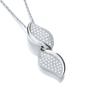 "J-Jaz Sterling Silver Double Leaf CZ Pendant & 18"" Chain - Queen of Silver"