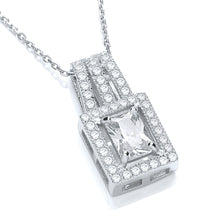 "J-Jaz Sterling Silver CZ Square Pendant & 18"" Chain - Queen of Silver"