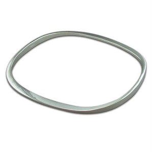 Sterling Silver Plain Solid TV Shape Bangle