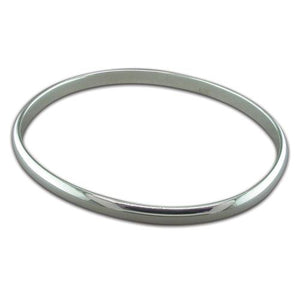 Sterling Silver Plain Oval Slave Bangle