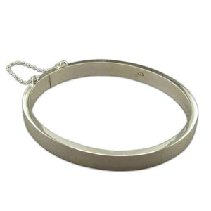Sterling Silver Plain Hinged, Square Tube Bangle