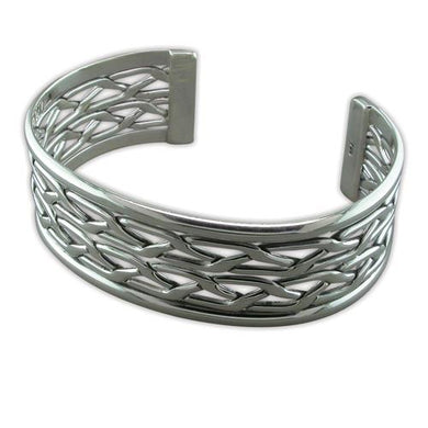 Sterling Silver Fancy Broad Weave Bangle