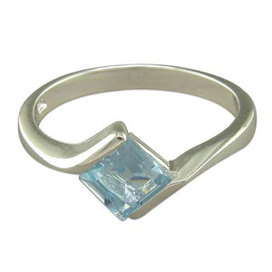 Sterling Silver Crossover Blue Topaz Ring