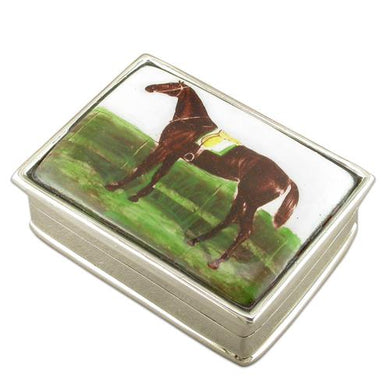 Sterling Silver Oblong Picture Box, Saddled Horse Gifts
