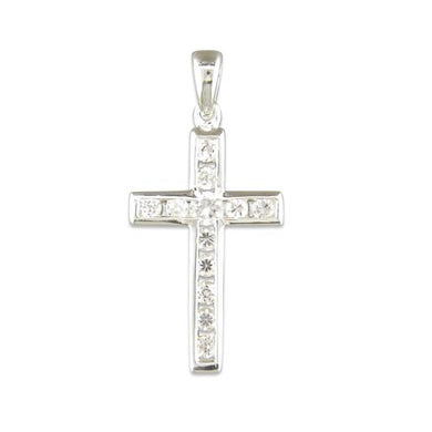 Sterling Silver Channel Set Cubic Zirconia Cross