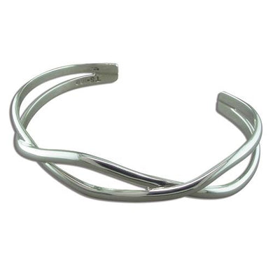 Sterling Silver Interwoven Curves Bangle