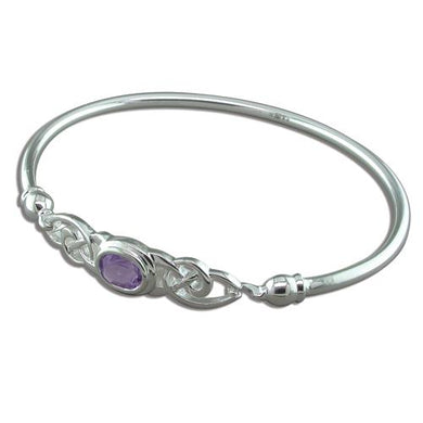 Sterling Silver Fancy Celtic with Oval Amethyst Bangle