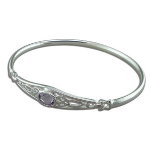 Sterling Silver Celtic-Set Oval Amethyst Bangle