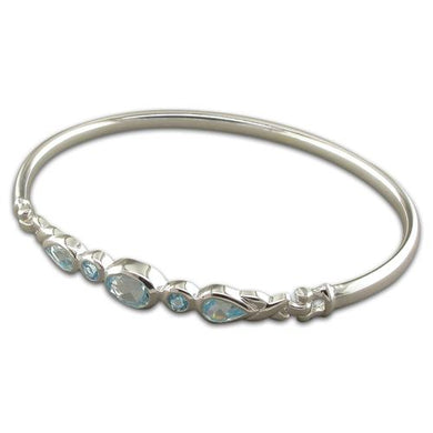 Sterling Silver Fancy Blue Topaz Bangle
