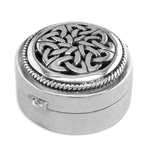 Sterling Silver Celtic Top Round Pill Box Gifts