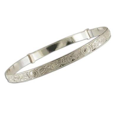 Sterling Silver Ladies Celtic Expanding Bangle