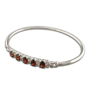Sterling Silver Fancy Garnets In-Line Bangle