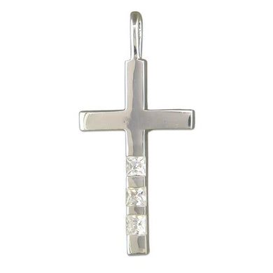 Sterling Silver Cubic Zirconia Set Block Cross