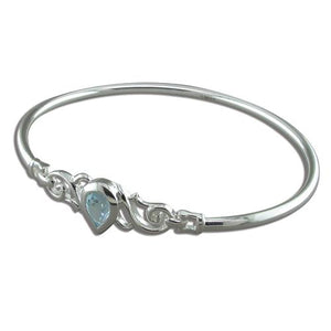 Sterling Silver Teardrop Blue Topaz in Fancy Swirls Bangle