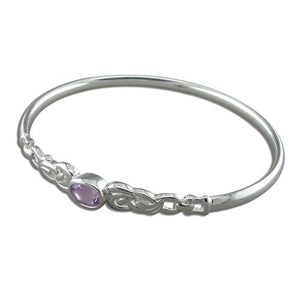 Sterling Silver Oval Amethyst in Fancy Loops Bangle