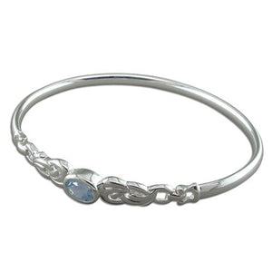 Sterling Silver Oval Blue Topaz in Fancy Loops Bangle