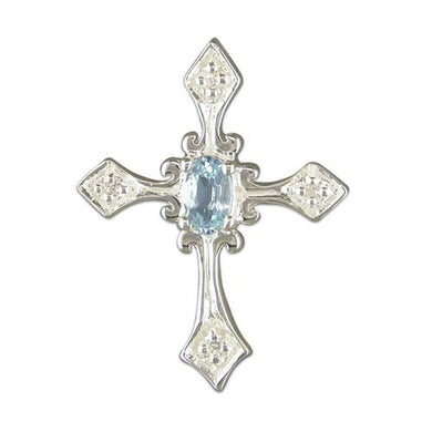 Sterling Silver Fancy Blue Topaz and Cubic Zirconia Cross