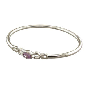 Sterling Silver Oval Amethyst Bangle