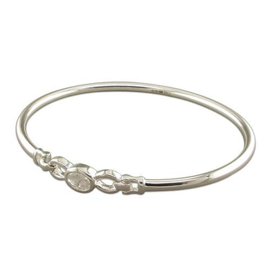 Sterling Silver Oval Cubic Zirconia Bangle