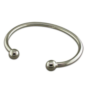Sterling Silver Ladies Solid Torc Bangle