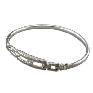 Sterling Silver Linked Oblongs with Cubic Zirconia Bangle