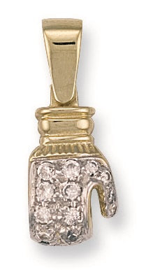 9ct Yellow Gold Cz Boxing Glove Pendant - Queen of Silver