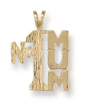 9ct Yellow Gold No.1 Mum Charm Pendant - Queen of Silver