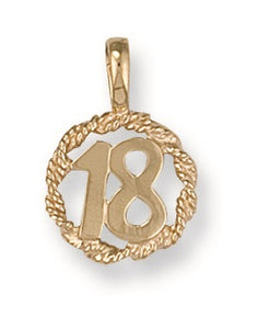 9ct Yellow Gold No. 18 Rope Pendant - Queen of Silver