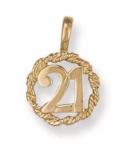 9ct Yellow Gold No. 21 Rope Pendant - Queen of Silver