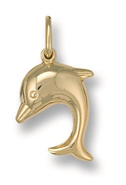 9ct Yellow Gold Dolphin Pendant - Queen of Silver
