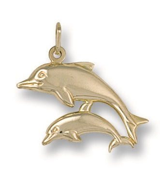 9ct Yellow Gold Double Dolphin Pendant - Queen of Silver