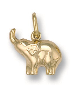 9ct Yellow Gold Baby Elephant Pendant - Queen of Silver