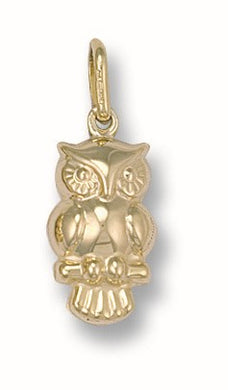 9ct Yellow Gold Owl Pendant - Queen of Silver