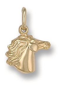 9ct Yellow Gold Horse Head Pendant - Queen of Silver