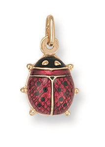 9ct Yellow Gold Enameled Ladybird Pendant - Queen of Silver