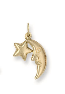 9ct Yellow Gold Star & Moon Pendant - Queen of Silver
