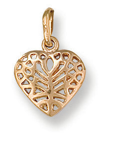 9ct Yellow Gold Filigree Heart Pendant - Queen of Silver
