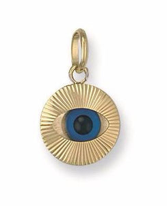 9ct Yellow Gold Small Evil Eye Pendant - Queen of Silver