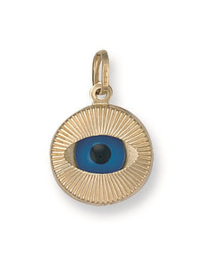 9ct Yellow Gold Large Evil Eye Pendant - Queen of Silver