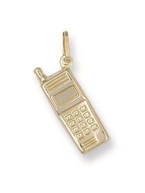 9ct Yellow Gold Mobile Phone Pendant - Queen of Silver