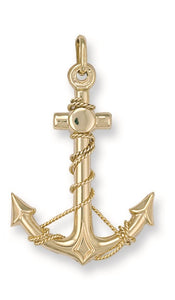9ct Yellow Gold Anchor Pendant - Queen of Silver