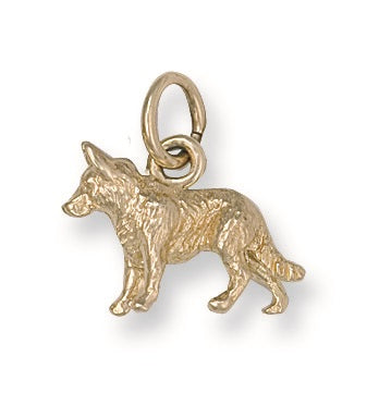 9ct Yellow Gold German Shepard Pendant - Queen of Silver